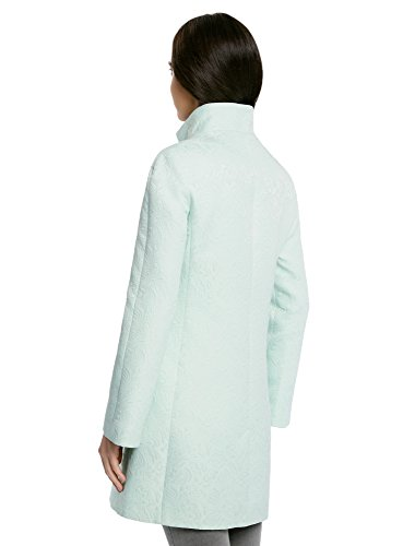 oodji Ultra Mujer Abrigo Recto de Tejido Texturizado Turquesa (6500N)
