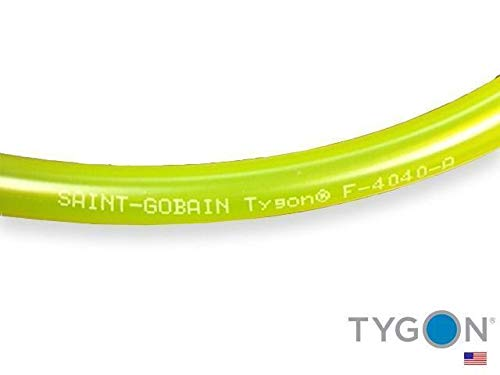 Tygon F-4040-A PVC Fuel And Lubricant Tubing, 3 32 ID, 3 16 OD, 3 64 Wall, 50 Length, Yellow