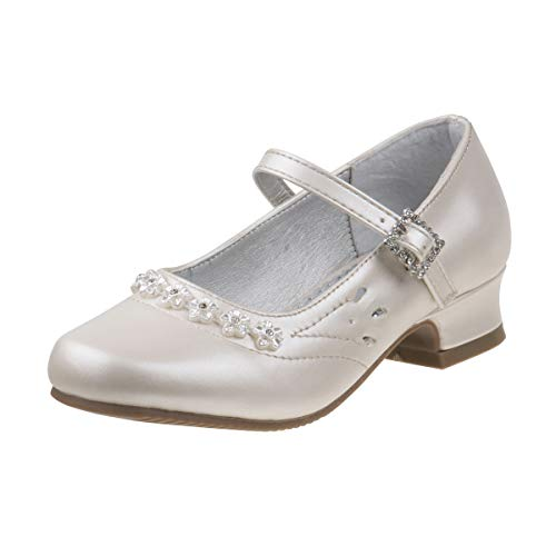 - Josmo Girls Dressy Patent Low Heel Shoe with Twin Gore Closure, Beige Pearl, 1 M US Little Kid'