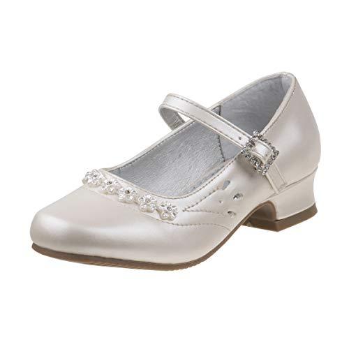 Josmo Girls Dressy Patent Low Heel Shoe with Twin Gore Closure, Beige Pearl, 11 M US Little Kid']()
