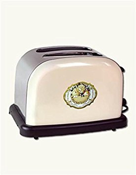 Victorian Trading Co Vintage Style Electric Toaster Cream Stainless Steel Roses ()