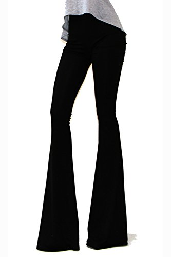 VIVICASTLE Women's Boho Solid Hippie Wide Leg Flared Bell Bottom Pants (Medium, Black) (Bell Bottom Pants)