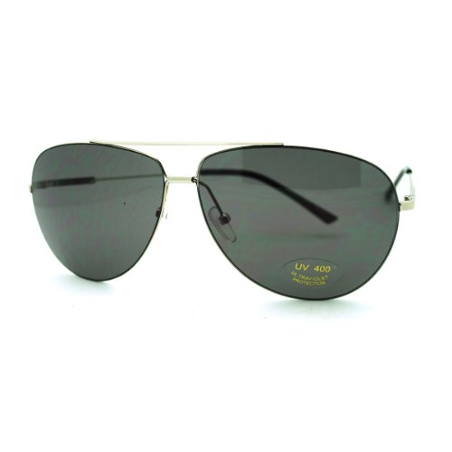 [Super Lite Thin Frame Aviator Sunglasses Classic Rimless Look Silver] (Thin Frame Sunglasses)