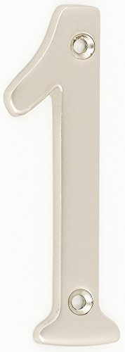 Plated Number - ZW Hardware A200 4 Inch Brass Matt Nickel Plated House Number 1
