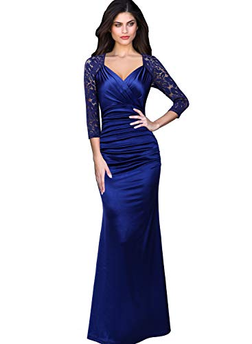 - VFSHOW Womens V Neck Floral Lace Ruched Formal Evening Mermaid Maxi Dress 1138 BLU L