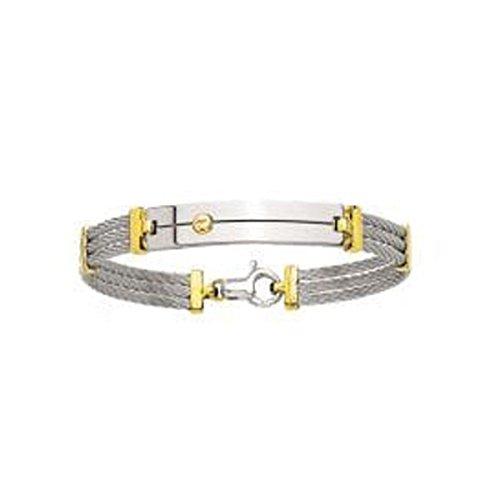 Ysora - Bracelet Jonc En Or Jaune Et Câble En Acier - 750 ‰ - 18 cm