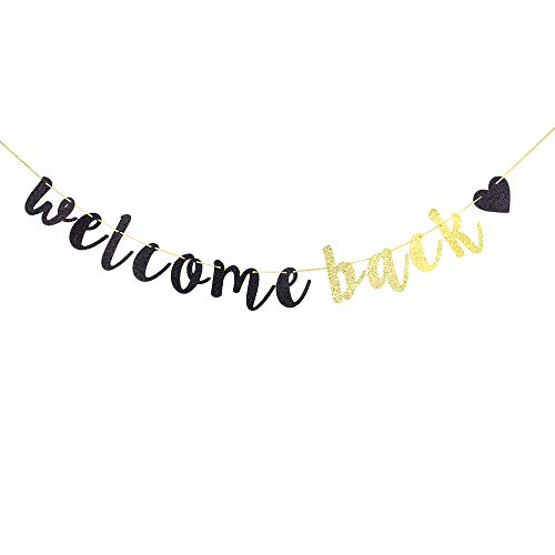 Welcome Back Banner,Black and Gold Glitter Retirement Party