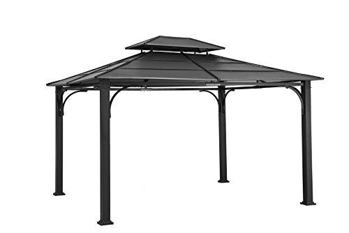 Top Hard Black (Sunjoy 10' x 12' Galvanized Steel Hardtop Gazebo - Black Top)