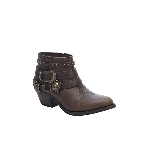 (Corral Urban Women's Multi Buckle Straps Distressed Brown Leather Ankle Cowboy Boots)