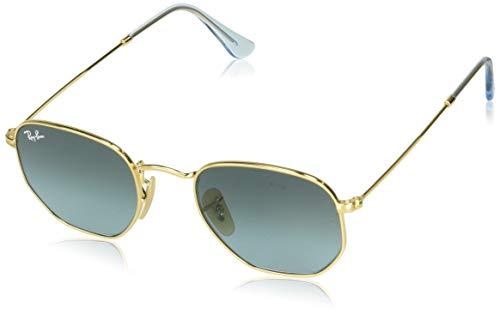Ray-Ban RB3548N Hexagonal Flat Lenses Sunglasses Rectangular, Gold/Blue Gradient Grey, 54 ()