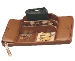 Budd Leather Dresser Valet with 2 Covered Sections/ for Jewelry or Desk/ BROWN