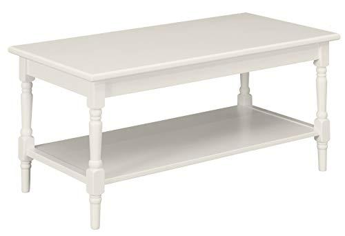 Ravenna Home Angela Modern Turned Leg Wood Shelf Storage Coffee Table, 44 W, White