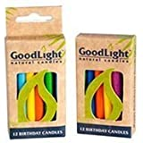 GoodLight Multi-Colored Birthday Candles, Nontoxic And Paraffin Free, 12Count