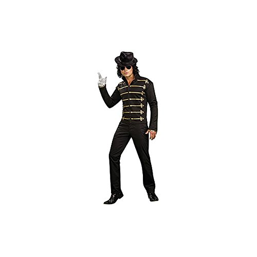 Michael Jackson Adult Costume Black Military Jacket - (Black Or White Costume Michael Jackson)