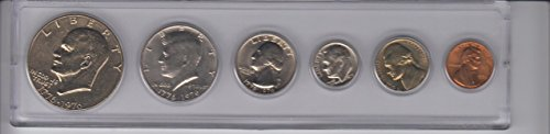 1975  Birth Year Coin Set- 6 coins Ike Dollar, Half Dollar, Quarter, Dime, Nickel, and Cent- All minted in 1975- the DollarHalf and Quarter has the date 1776-1976 -Centennial Year- All displayed in plastic holder.  Choice Uncirculated