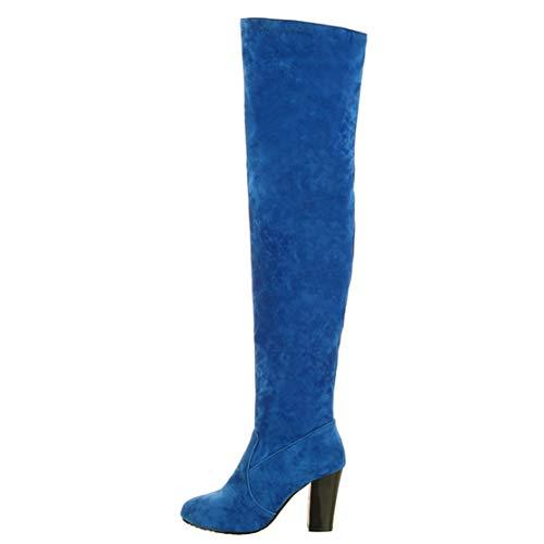 Terciopelo Azul Botas Aiyoumei Mujer De Clásicas wHXZqZ