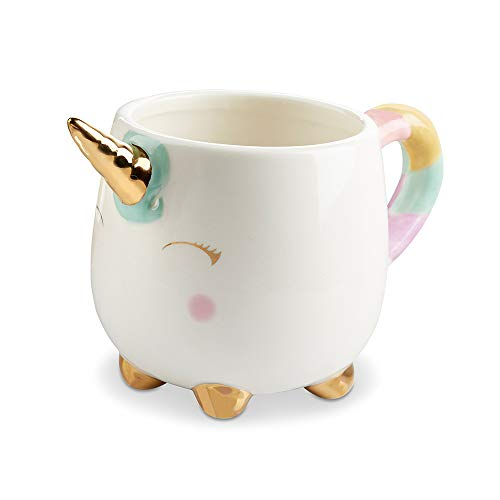 Kate Aspen 23194NA Unicorn 12 oz Gold Foil Horn Mug White, Pink, Purple, Blue