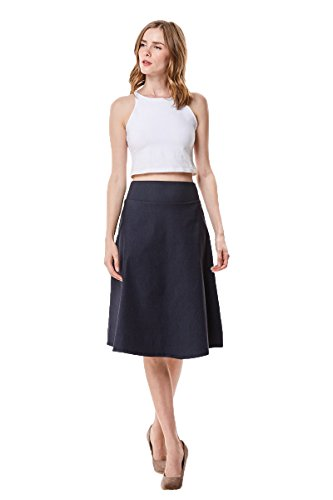 MoDDeals Woman's High Waist A-line Below The Knee Flared Midi Skirt Stretch Woven (Small, Indigo Denim)