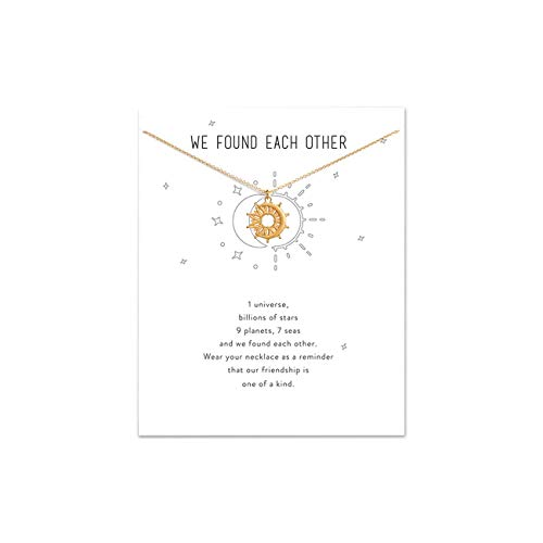 (LANG XUAN Friendship Pearl Necklace Lucky Elephant Star Pearl Circle Pendant Necklace for Women Gift Card (Sun Gold))
