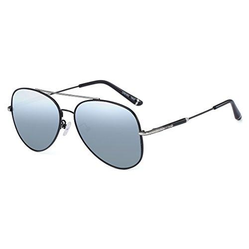 CAXMAN Polarized Aviator Sunglasses Ultra-Thin Frame Full Mirrored Lens for Men Women, Silver Mirror Lens Size 60mm, 100% UV - Luxury Sunglasses Replica