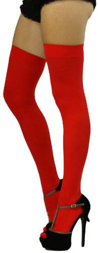 ToBeInStyle Women's Long Schoolgirl Stockings - One Size - Red