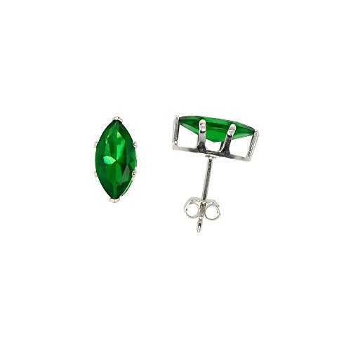 Sterling Silver Cubic Zirconia Marquise Emerald Earrings Studs Green Color 10x5mm (Zirconia Marquise Stud Cubic)