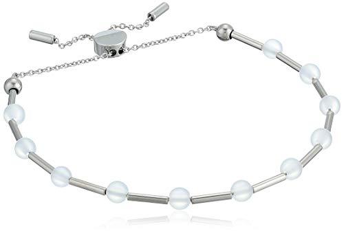 Skagen Women's Anette Silver-Tone Glass Beaded Bracelet, Silver/White, Size: -