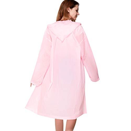VICUNA POLO Adult Waterproof Raincoat with Hood & Sleeves Unisex Men Women Reusable Outdoor Rainwear (Pink, L(Chest 46.4))
