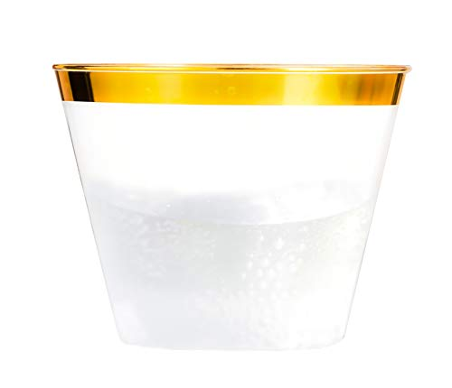 Gold Plastic Cups - 100PK - 9oz Beautiful Elegant Party, Wedding, Holiday, Celebration Disposable Gold Cup by Precision Elegance