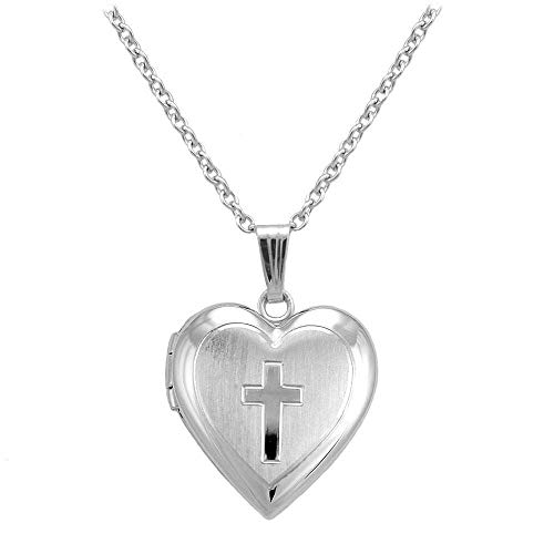 Girl's Sterling Silver Heart Shaped Engraved Cross Trace Chain Locket Necklace (15 ()