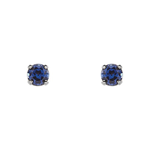 3mm Created Blue Sapphire Youth 14k White Gold Threaded Post Earrings by The Black Bow