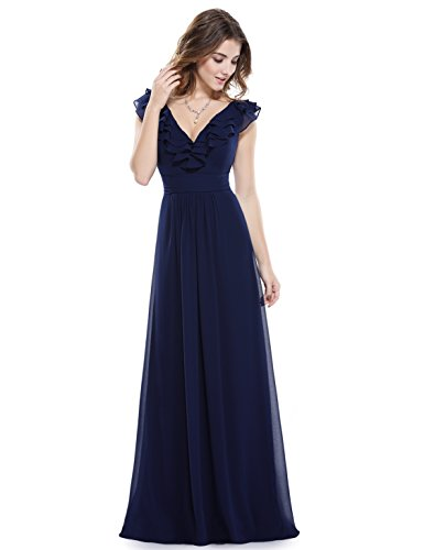 Ever-Pretty Elegant Empire Waist Sleeveless Long Chiffon Navy Blue Mother Of The Bride Dress 8 US