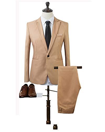 Slim Formelles Ensemble Bozevon Manches Et Longues Blazers Blazer Pièces Vestes Costume Marron De Fit Hommes Costumes 2 Pantalons IwrZOFxzwq