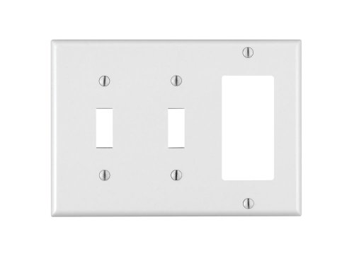 Duplex Outlet Triple Toggle Switchplate - Leviton 80421-W 2-Toggle 1-Decora/GFCI Device Combination Wallplate