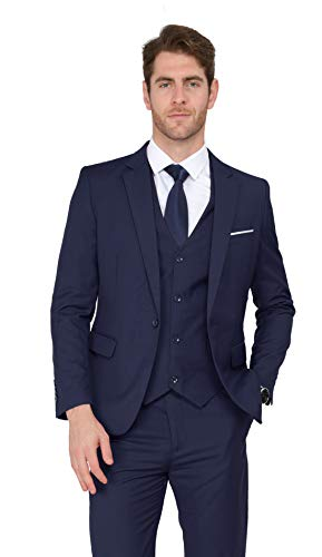 MAGE MALE Men's 3 Pieces Suit Elegant Solid One Button Slim Fit Single Breasted Party Blazer Vest Pants Set, Dark Blue, ()