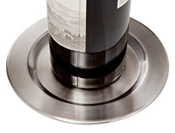 Set of 4 Brushed Stainless Steel Smooth Pratique Wine Bottle Coasters ()