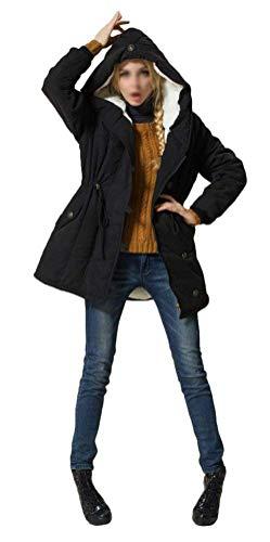 Larga Parka Manga Laterales Fit Modernas Capucha Bolsillos Fashion Cazadoras Capa Grueso Slim Schwarz Cordón Abrigos Elegante Otoño Invierno Terciopelo Chaqueta Con Mujer Botonadura Vintage 6OwdxTRq6