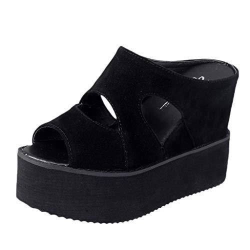 Claystyle Verano Mujer Zapatos Cuñas Zapatillas Casuales Parte Inferior gruesa Mujeres Pescado Boca Sandalias Black