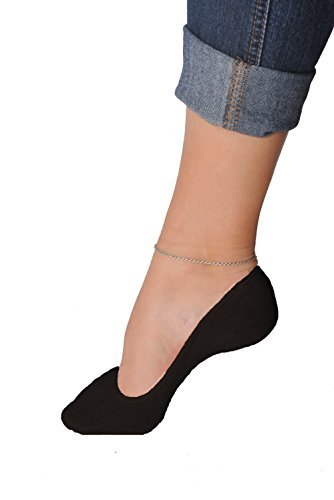 Women's 6 Pairs Truly No Show Liner Socks ~ Low Cut Invisible Anti Slip Socks ~ For Flats And Loafers By Juccini (Black,Pack of -
