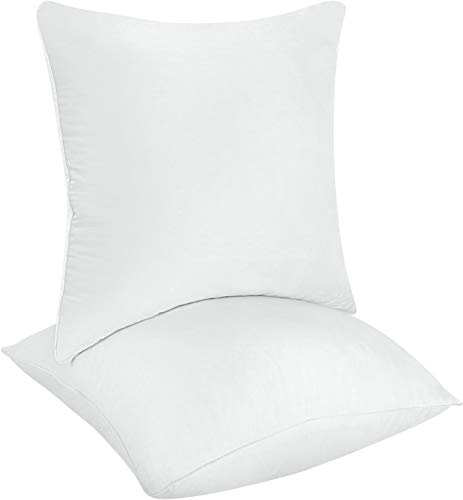 Utopia Bedding Decorative Pillow Inserts (Pack of 2, White) - Square Pillow 18 x 18 Inches Sofa and Bed Pillow - Indoor White Pillows