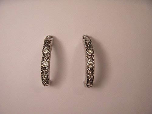 Lovely Estate 14K White Gold Diamond Filigree Hoop Earrings Hoops