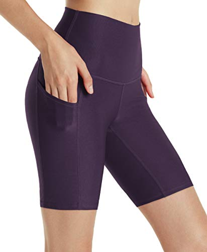 - TSLA Active Bike Running Yoga Shorts Side/Hidden Pocket Series, Pocket Thick 8inch(fys15) - Violet, Large (Size 10-12_Hip41-43 Inch)