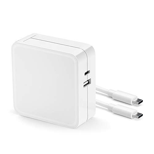 61W 45W 29W USB-C Power Adapter,Replacement Charger for MacBook Pro 13-inch Laptop (A1706),MacBook 12 inch,Type C PD Power Charger with a USB-C to USB-C Fast Charging&Data Cable (White)
