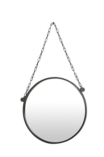 Flamant Asmina 27.5'' Round Iron Wall Mirror, Gray by Flamant
