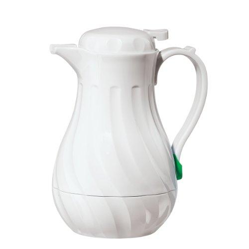 Oggi 6576.1 Swirl Carafe with Press Button Top, 1.2-Liter, White