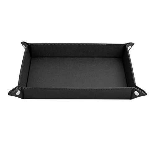 "ONLVAN Jewelry Leather Valet Tray for men travel valet tray(12.8""×10.6""- Black)"