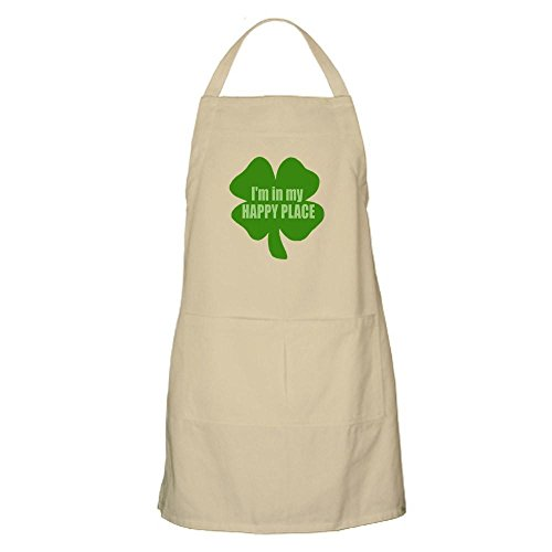 CafePress I'm in My Happy Place Irish Drunk Humor BBQ Apron Kitchen Apron with Pockets, Grilling Apron, Baking Apron