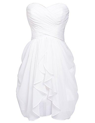 Ballkleid Mini Faltenrock Schulter Chiffon 247 Damen Clearbridal Ein Weiß Abschlussballkleider Abendkleider CSD427 Cqt54aWxw