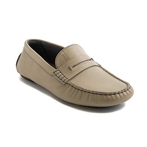 GIORGIO ARMANI Collezioni Men's Leather Loafer Driving Shoes Beige