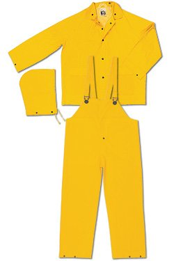 MCR Safety Garments 6X-Large Snap Fly Yellow FR2003X6 River City Classic Rain 3-Piece Suit Detachable Hood